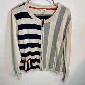 Orvis Striped Full Zip Cardigan Sweater